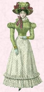 Right - Green dress 1825 showing how the waist is at last at its natural position.