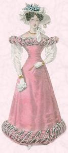 Sheer oversleeves a pre-runner of gigot sleeve styles of fashion dress 1825.