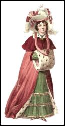 Fashion history 1827 - Fur lined red winter cloak and muff.