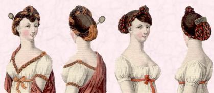 Hairstyles of 1804 and hair jewellery comb and accessories.