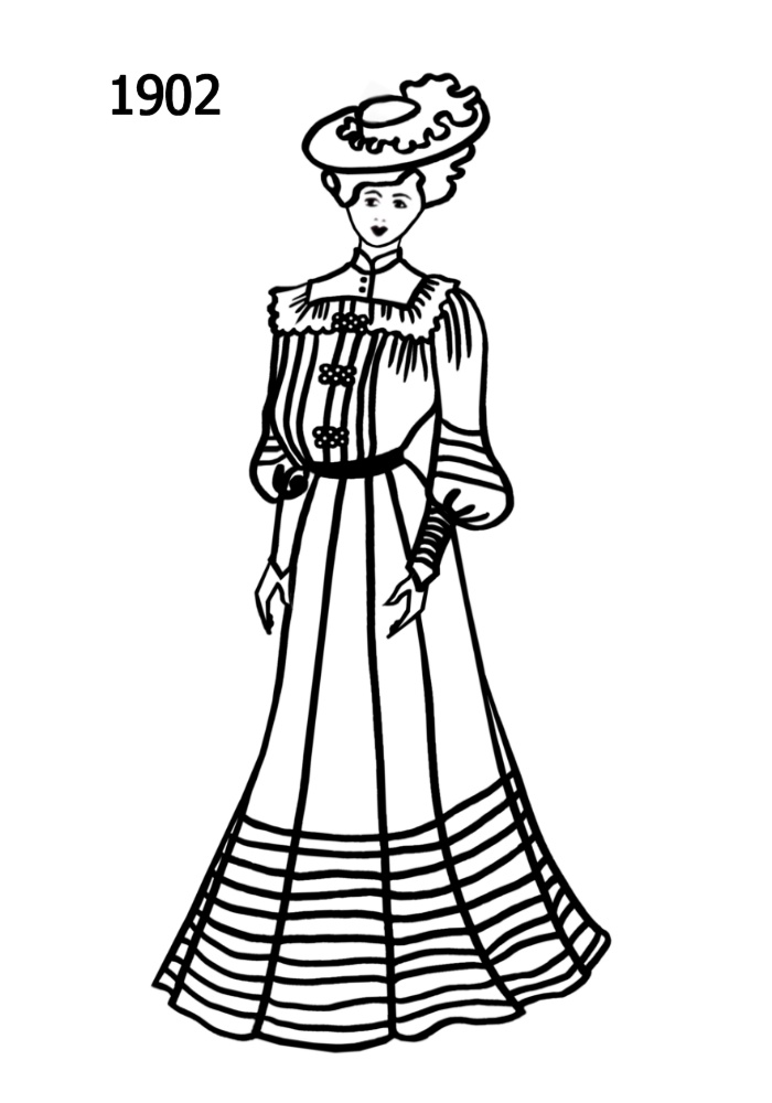 costume silhouettes 1900 1910 free line drawings 900 S Clothing copyright fashion era 2005