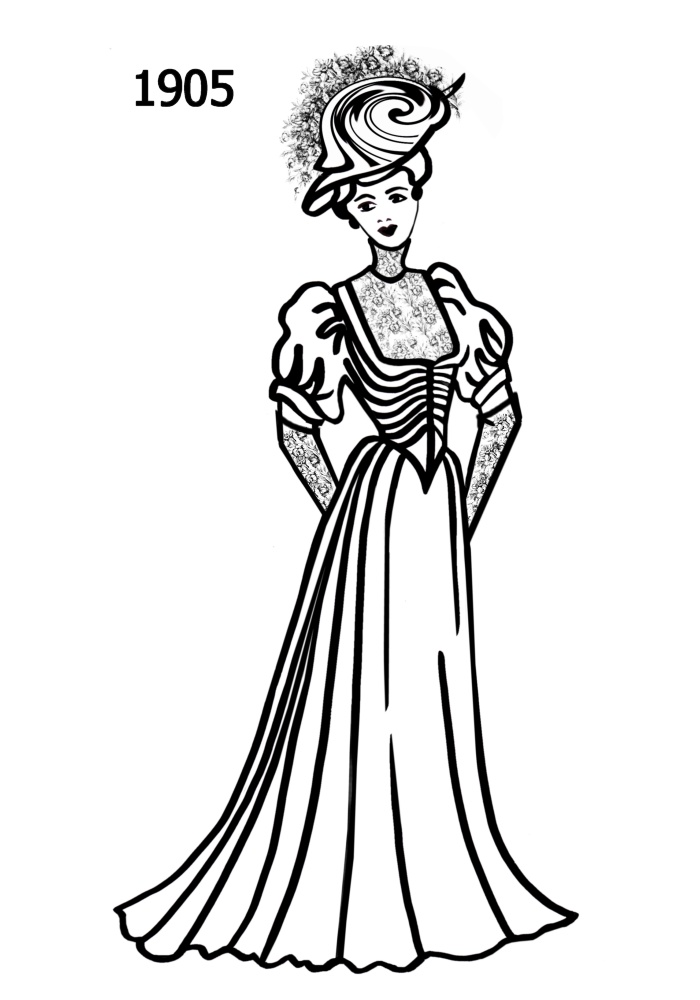 costume silhouettes 1900 1910 free line drawings 1960s Clothing Style 1908 1909 1910 1910