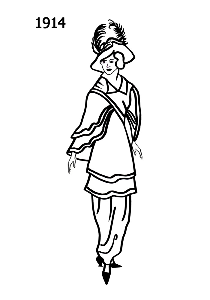 Line Art History : Costume silhouettes  free line drawings