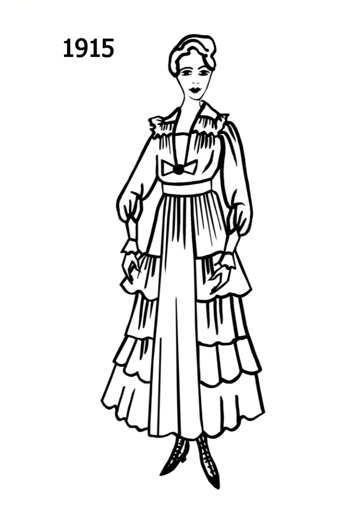 costume silhouettes 1914 1915 free line drawings 1970 Disco Costumes line drawing of the fashion history era 1915
