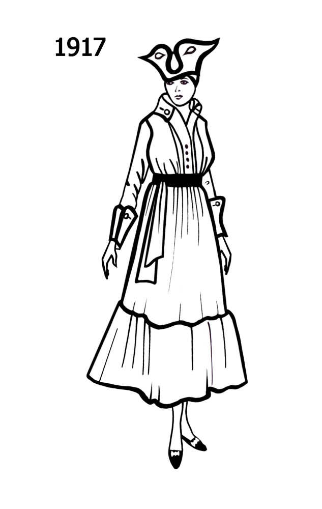 c20th costume silhouettes 1916 1917 free line drawings Biblical Clothing silhouette line drawing of high waisted dress typical of era 1917