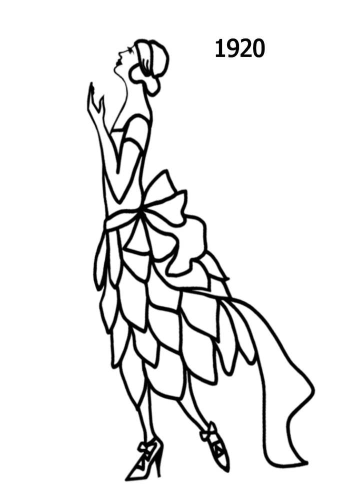 line drawing of party dress with skirt of separate petals - 1920