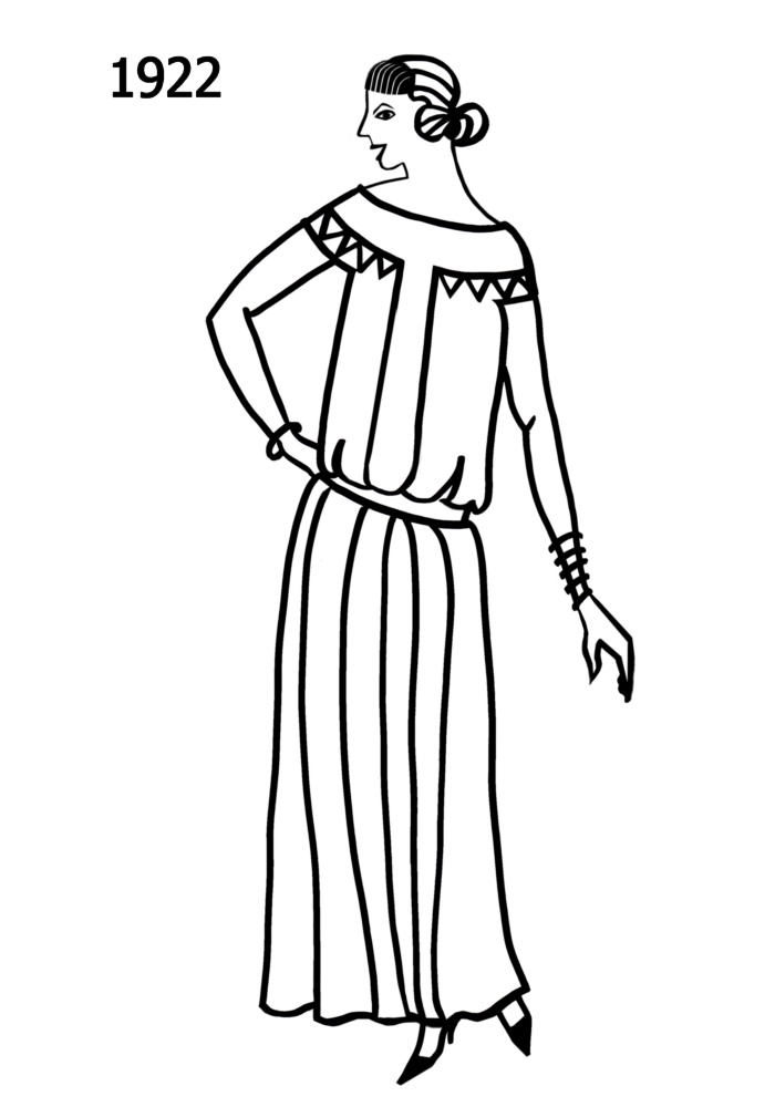 costume history silhouettes 1922 1923 free line drawings 1000s Clothing in the Netherlands silhouette line drawing of above ankle dress 1922