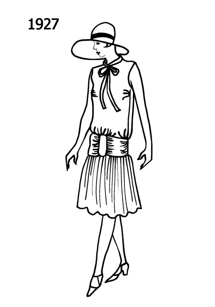 costume history silhouettes 1926 1927 free line drawings Gatsby 1920s Party silhouette line drawing of at knee dress 1927
