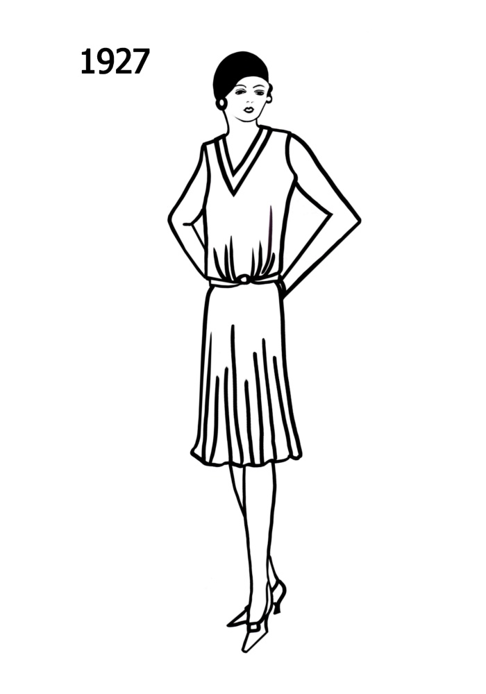 Line Drawing Dress : Sketches s flapper coloring pages