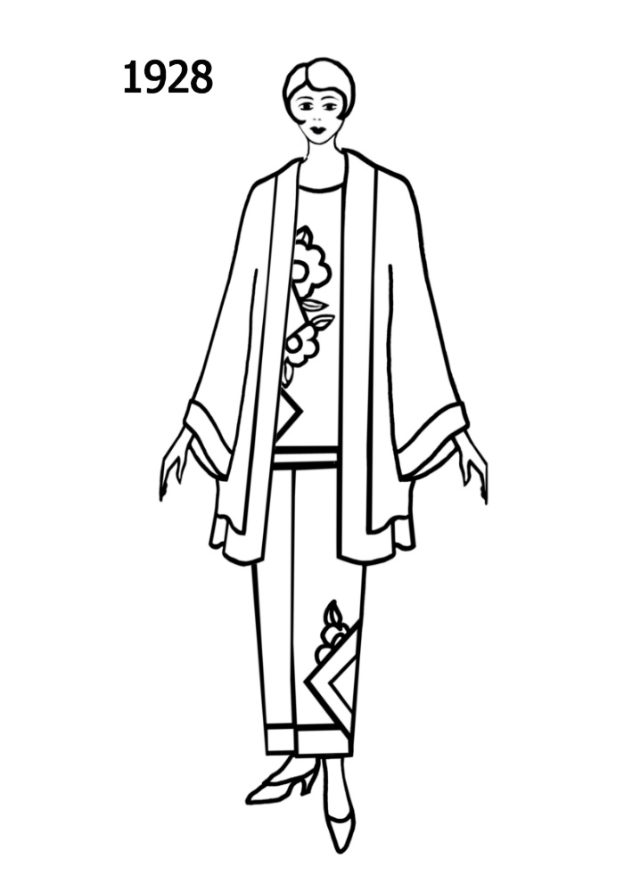 Costume History Silhouettes 1928 1929 Free Line Drawings