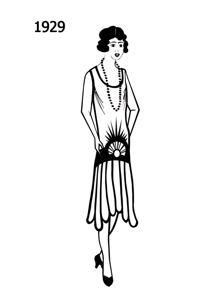 1920s Woman Drawings Silhouette Line Drawing of