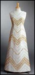 The Queens Clothes - 1974 Zig Zag Gold Embroidery Dress for Australia