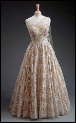 Norman Hartnell 1953 one-shoulder gown for The Queen.