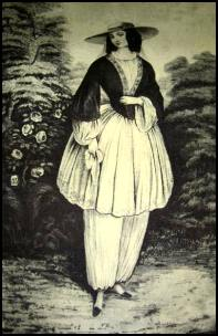Mrs Bllomer - Amelia Bloomer in her bloomers or bifurcated garments.