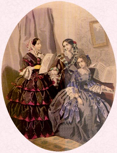 Victorian recreations fashion history fashion history picture of victorian ladies playing the piano whilst wearing full victorian crinolines solutioingenieria Gallery