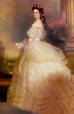 Fashion history painting showing full crinoline of 1865