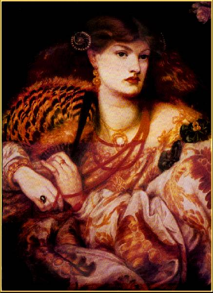 Portrait of aesthetic lady wearing fashion by rossetti costume