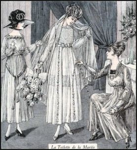 Marriage veil shown on the cover of Le Petit Echo de La Mode left which is from 1917.