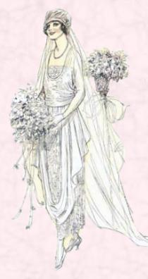 Bride fashion sketch 1919