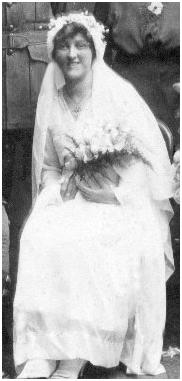 "Margaret Natalie (""Meg"") Woollen in 1919 on her wedding day."