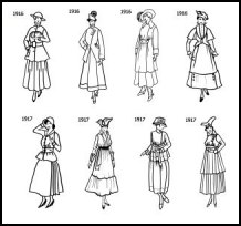 1916-1917 fashion silhouettes