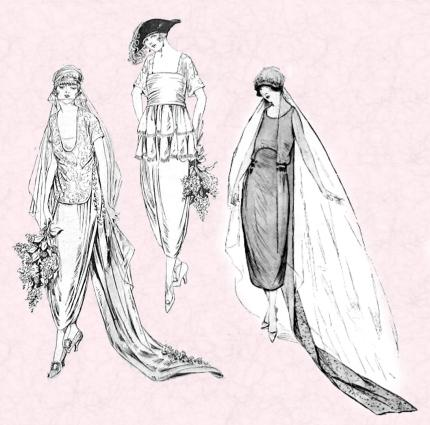 1920 Wedding sketches of bridal gowns
