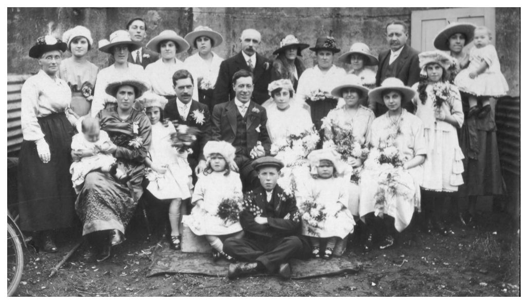 1920s Wedding Photo of Large Group The Bridal Party 1921