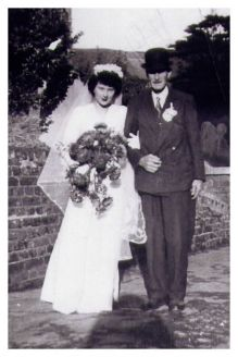 1945 Wedding - Sylvia Gillard with her Father