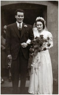 Fahsion-era fashion history 1940s  Wedding - Florence and Tom 1942.