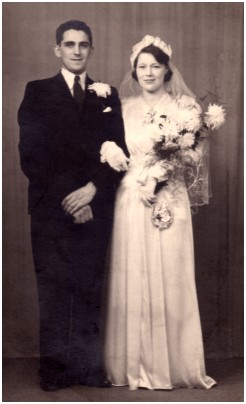 Fashion history - 1939 Uk Wedding ofthe bride Lorraine and Evan the groom.