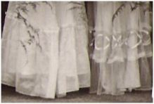 Bridesmaid skirts of 1945 showing decorative interest.