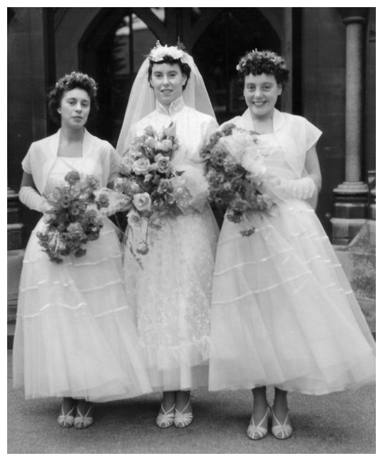 1950s Ballerina Length Dresses For Bride And Bridesmaids Wedding Group 1956