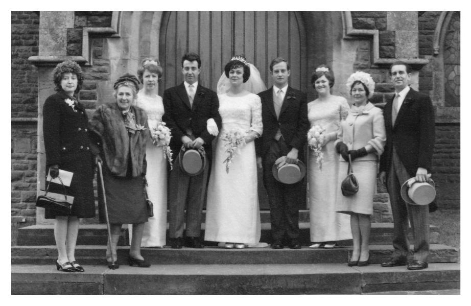 1965 Bridal group photo The groom and ushers wore traditional morning dress