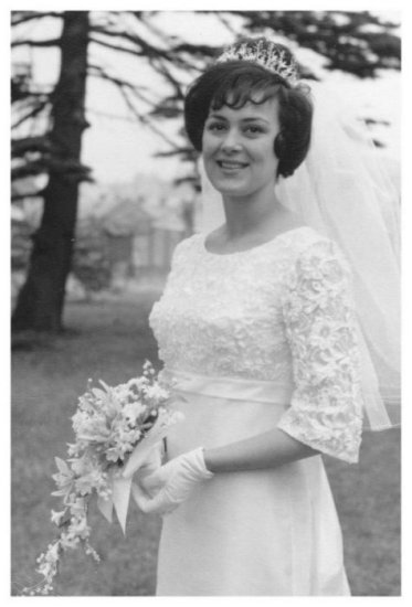 This 1960s wedding photo is of Pat at her white wedding in South Wales on a