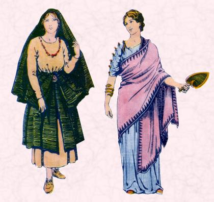 As ever, Roman women's dresses were a little different from the men's