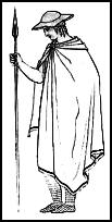 Greek cloaks.  Chlamys - in colder weather the larger cloak was worn, this was called a Greek Himation.