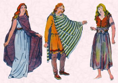 Costume history on fashion-era.com  -  A Celtic woman; in the centre a Celtic man and on the far right a Celtic peasant.