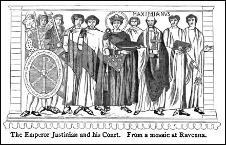 The Emperor Justinian and his Court is shown in this image taken from a mosaic at Ravenna.