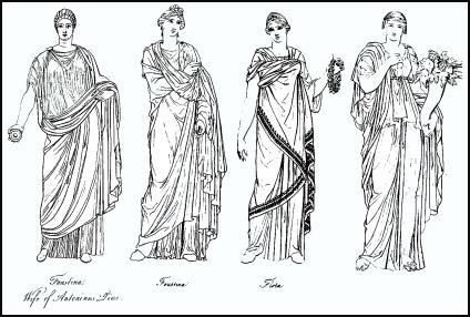 The fashionable draped costume of Roman ladies. Next look at the Roman ...