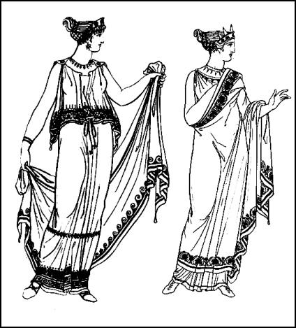 Feminine Greek chiton costumes worn by women of ancient Greece.