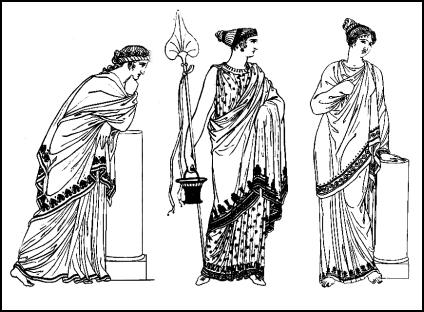 Fashions from ancient Greece.  Borders were used to create drapery interest when the border wrapped around the body.