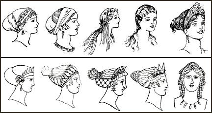 Fashion history drawing of hairstyles of women from ancient Greece