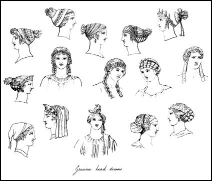below are typical Greek hairstyles and headdresses for women, the line