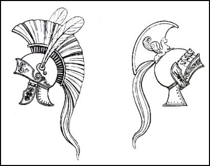 Costume history - Greek helmets with horse mane  Grecian battle    Greek War Helmet Drawing