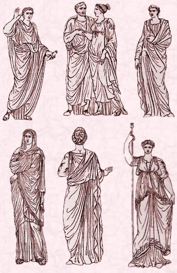 Togas and wrapped draped gowns, early clothing from ancient Rome.