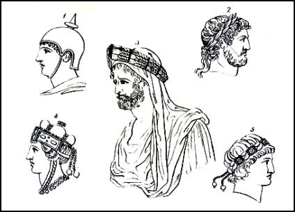 For comparison of hairstyles and helmets with Greek men see this page on