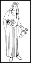 Roman woman in two tunics and stola.
