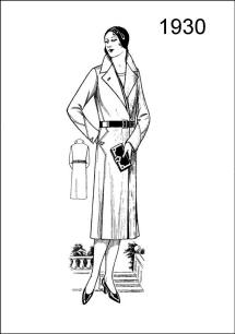 1930 costume coat - Figure L2526 displays a wrap overgarment with belt at waist