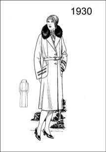 1930 colouring drawing - Figure L2530 illustrates a long coat ornamented with fur and braid. It is a loose-fitting overgarment with Raglan sleeves.