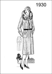 1930 Line drawing of Women's Wear winter 1930 fashion coat. Colouring-in picture. Figure L2527.